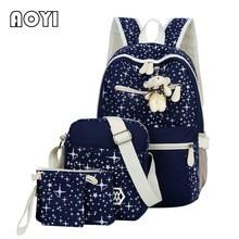AOYI 4 шт./компл. Для женщин холст Рюкзаки печать рюкзак прекрасный медведь Декор опрятный Mochila Escolar ноутбука Школа Книга сумка для Обувь для девочек