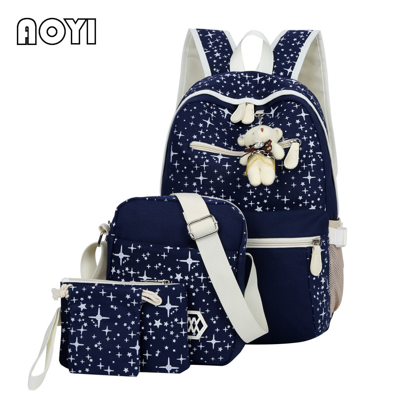 AOYI 4Pcs/Set Women Canvas Backpacks Printing Backpack Lovely Bear Decor Preppy Mochila Escolar Laptop School Book Bag for Girls