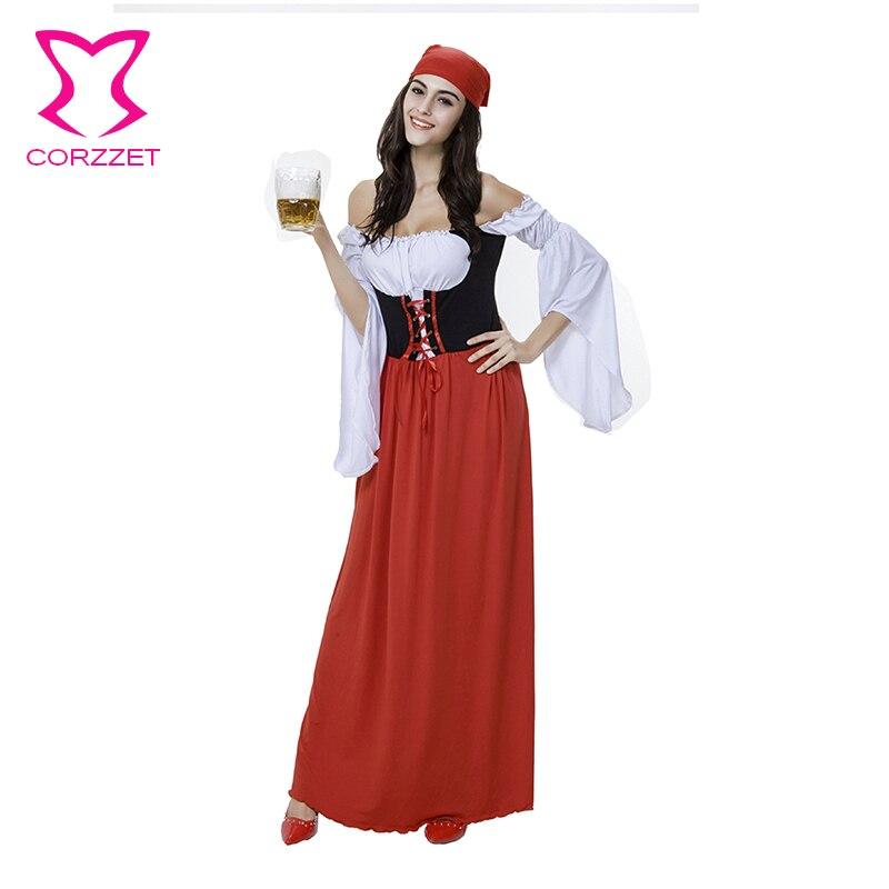 Oktoberfest Beer Wench Women Dress Adults Halloween Costume Short Sleeve Fancy