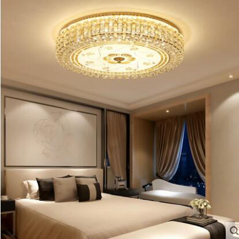 Simple European bedroom lamp warm and romantic ceiling round European crystal lamp restaurant lamp modern LED ceiling lighting lateness and modern european literature