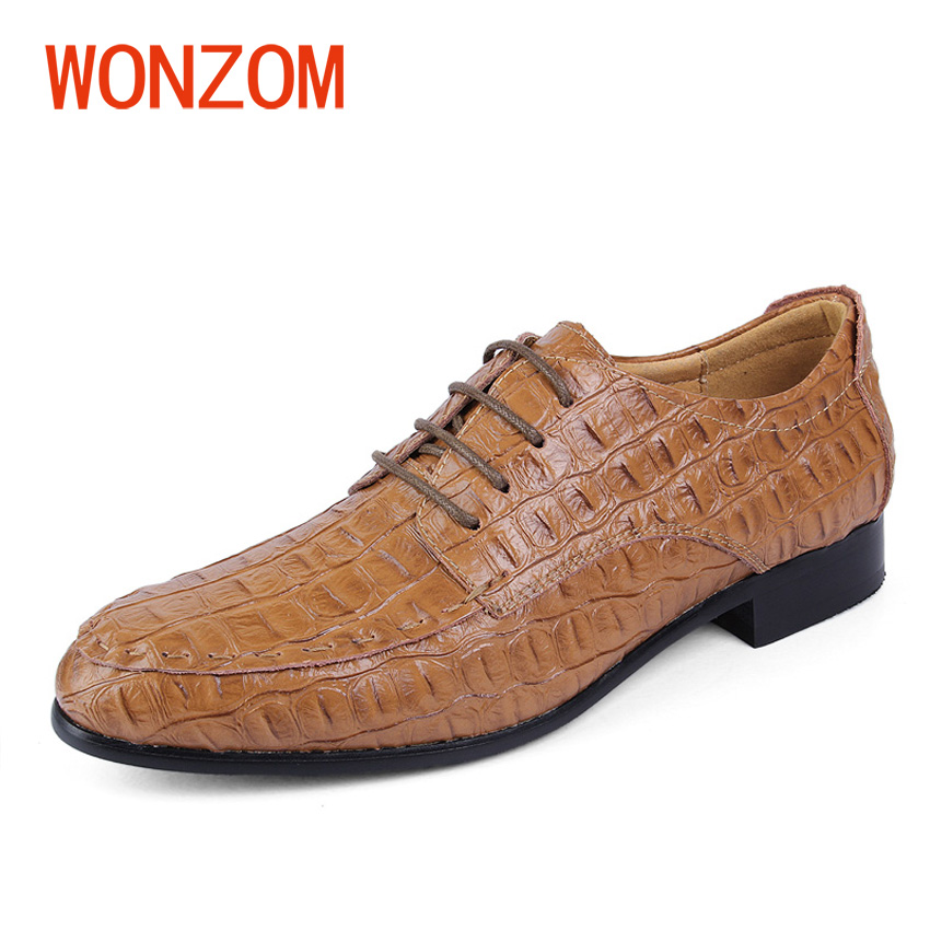WONZOM New Brand Genuine Leather Men Oxford Shoes Fashion British Style Black Crocodile Pointed Toe Casual Shoes Plus Size 38-48 hot sale mens italian style flat shoes genuine leather handmade men casual flats top quality oxford shoes men leather shoes