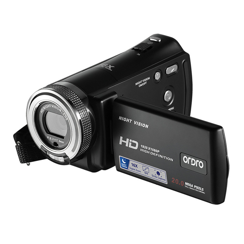 US $53 19 28% OFF|ORDRO V12 HD Camcorder 1080P 16X Digital Zoom 20MP  Infrared Night Vision Digital Video Camera Pause Function with 3 0inch  LCD-in