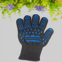 High quality Heat resistant glove BBQ OVen glove Protecting hands from fire blue silicone