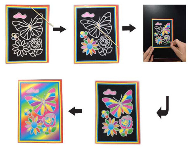 Happyxuan pcs/lot 13*9.5cm Two-in-one Magic Color Scratch Art Paper Coloring Cards Scraping Drawing Toys for Children 7