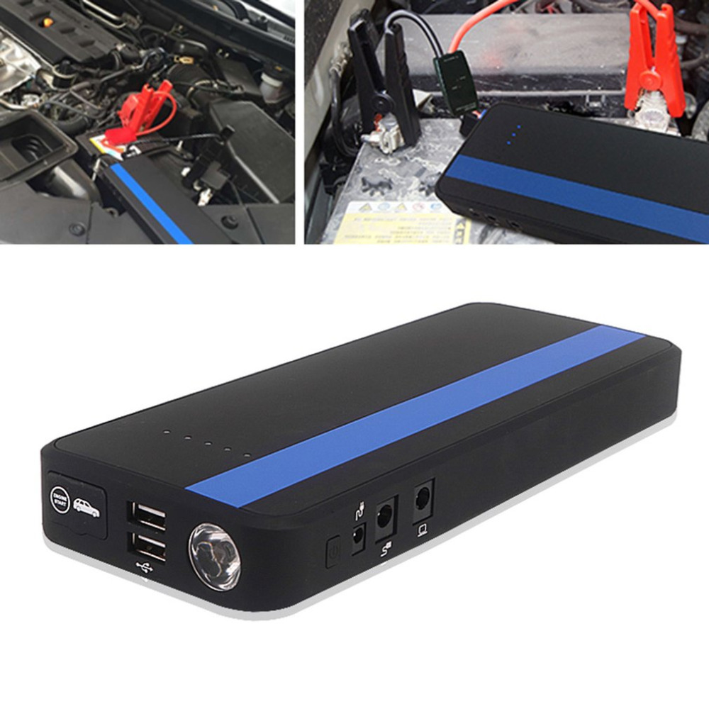 12V 30000mAh Dual USB Output Car Jump Starter Portable Car Charger With Flash Light Battery Power Bank Emergency Power Supply