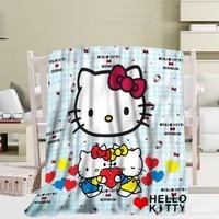 Custom Hello Kitty Travel Blanket Home TV Casual Relax for Family Soft Fluffy Warm Blanket