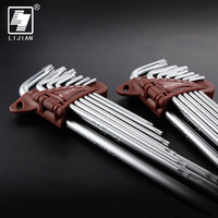 9pcs Torx Hex Key Wrench Set T10 T50 Cr V Long Size With Chrome Plated Surface