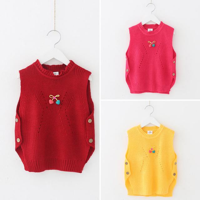 Bebé niña suéter chaleco 2016 otoño ropa infantil tejida arco chaleco rebeca del bebé suéter chaleco