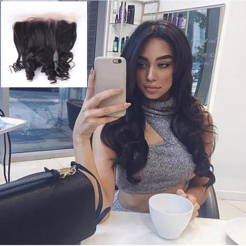 (US Stock) Enoya Hair Loose Wave Peruvian Virgin Hair Loose Wavy Natural Hairline Free Part Closure Lace Frontal with Baby Hair