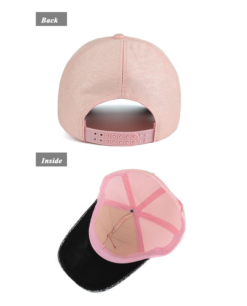 Dangling Leaf Snapback Cap - Pink Cap Rear and Inside Views