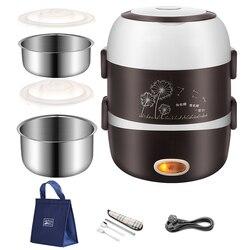 220V Taşınabilir Elektrikli ısıtılabilir yemek kutusu paslanmaz çelik gıda konteyneri Termos Ofis Bento Kutusu buharlı pişirme tenceresi Mini Pirinç Ocak