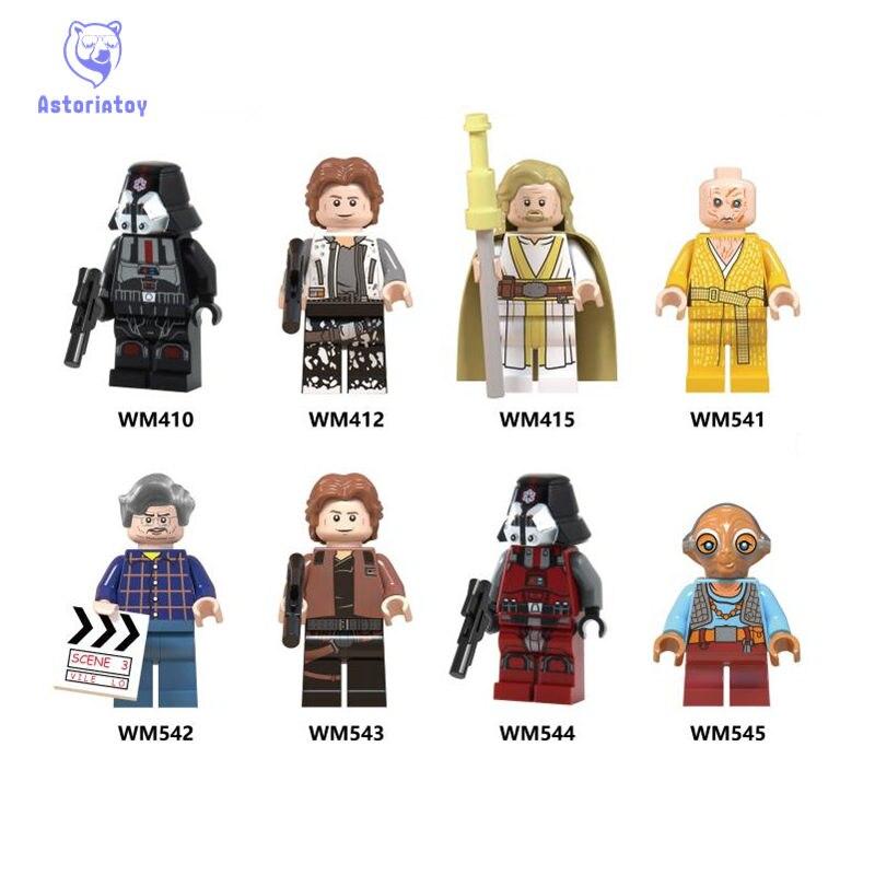 Blocks Obliging Star Wars Minifigured Han Solo Luke Skywalker Snoke Sith Lord Maz Kanata Building Blocks Toys For Children Legoed Wm6039
