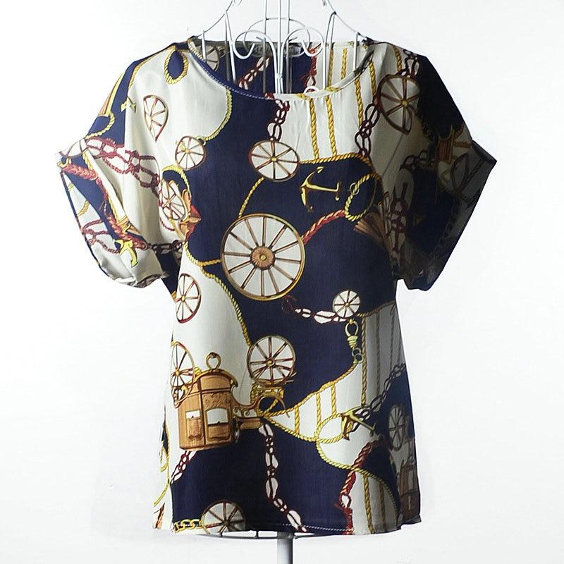 2017 New Womens Fashion Short Sleeve Tops Womens Clothing Summer Casual Aestheticism Print Tee Shirt Chiffon Shirt 02