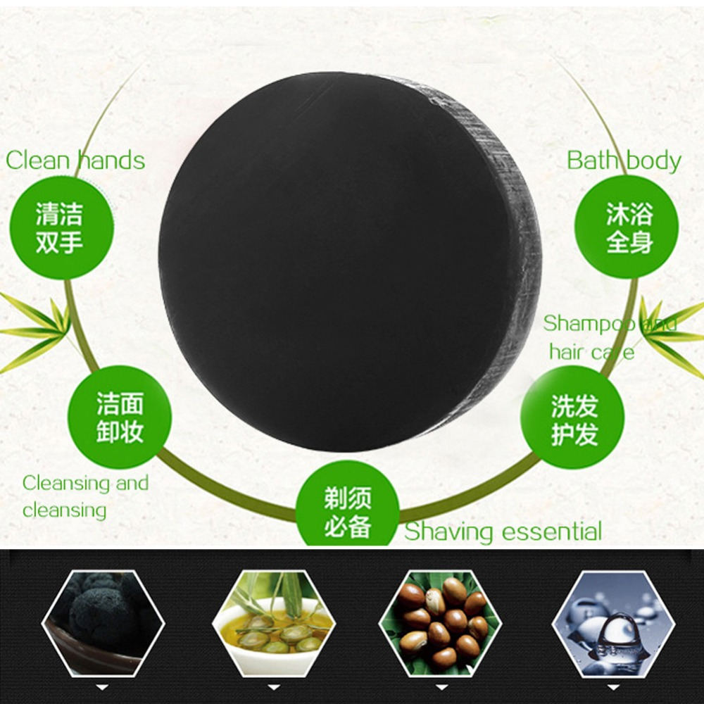 Купить с кэшбэком New Activated Charcoal Crystals Handmade Soap Face Skin Whitening Soap For Remove Blackhead and Oil Control Washing New