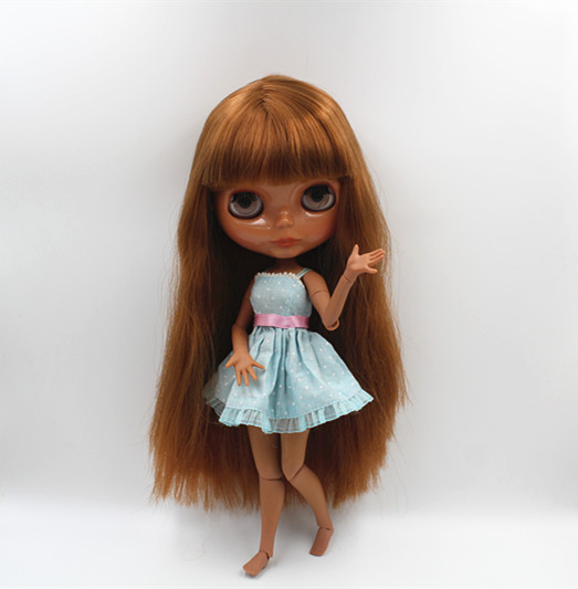 Blyth doll Deep khaki, bangs, straight hair, nude dolls, multi-joint body, 19 joint body, gift toys, can be changed.