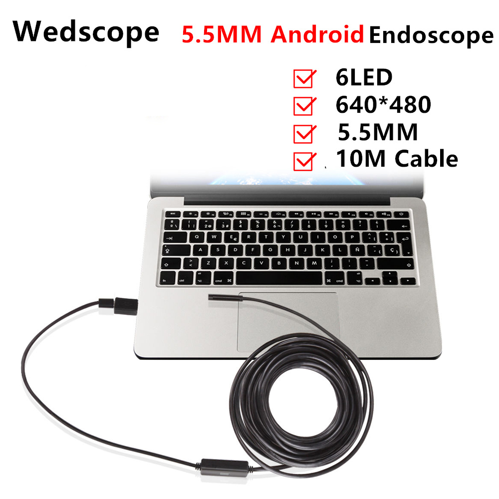 Android Endoscope 5.5mm 10M USB Endoscope IP67 waterproof Borescope Micro Camera Snake for OTG Android phone Laptop PC Endoscope headset bullet external camera for usb otg compatible android smartphones