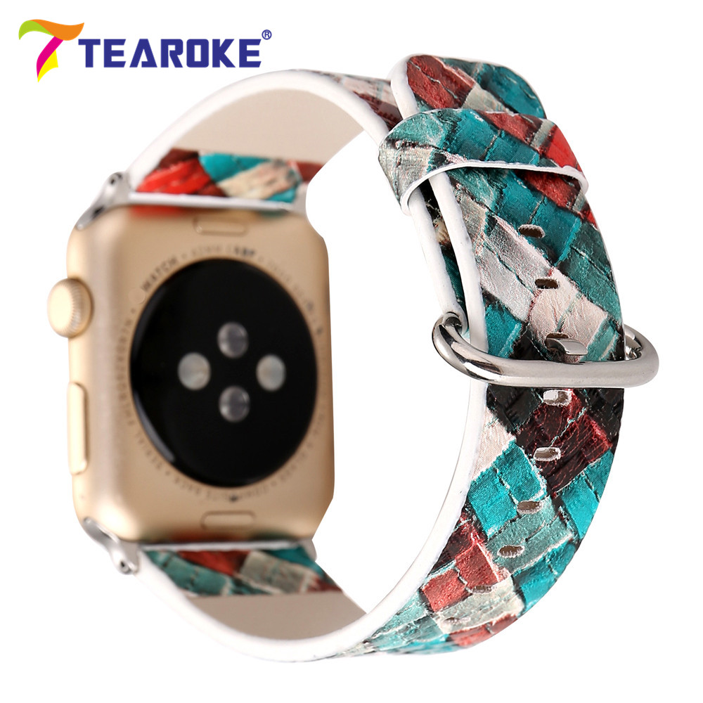 TEAROKE 3D Grid Pattern Painting Leather Watchband For Apple Watch 38mm 42mm Vintage Women Men Replacement