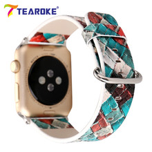 TEAROKE 3D Grid Pattern Painting Leather Watchband For Apple Watch 38mm 42mm Vintage Women Men Replacement Strap Band for iwatch