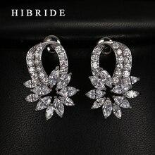 HIBRIDE Luxury Wedding Party Drop Earrings Flower Cubic Zircon Earrings For Women Gifts Fashion Jewelry Female E-63