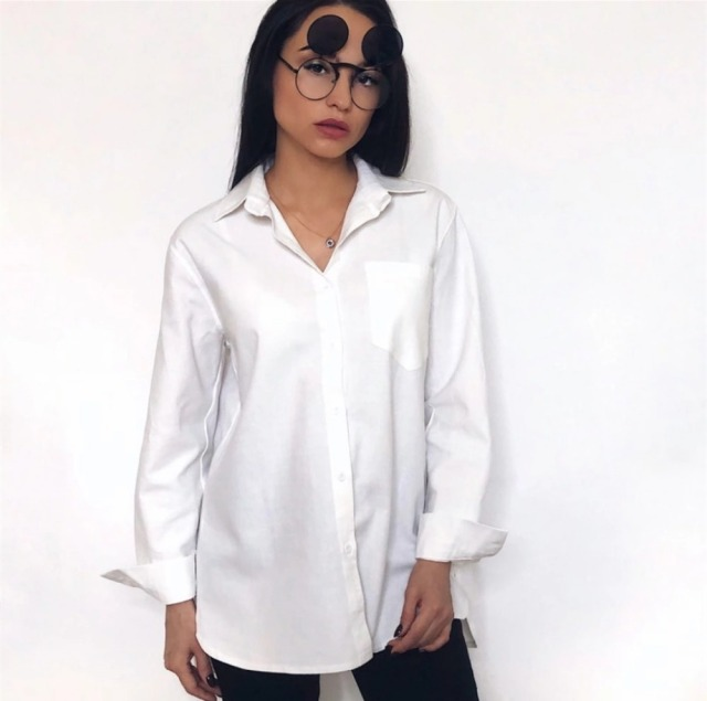 ZHISILAO Chic Solid Shirts Long Sleeve Cotton Linen Blouse Plus Size Shirts Oversize White Blouse Maxi Boyfriends Chemisier 2