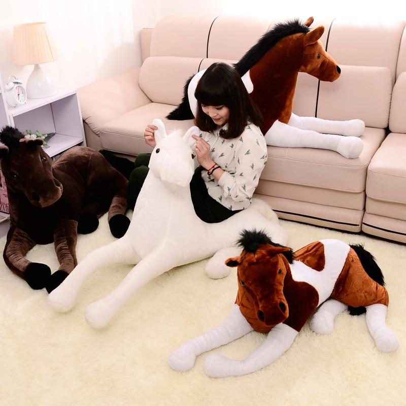 90*50 cm 2 Colori di Simulazione Big Horse Plush Doll e Nero Cavallo bianco Farcito Peluche di Buona Qualità Grande Bambola per adulto-in Animali di pezza e peluche da Giocattoli e hobby su  Gruppo 3
