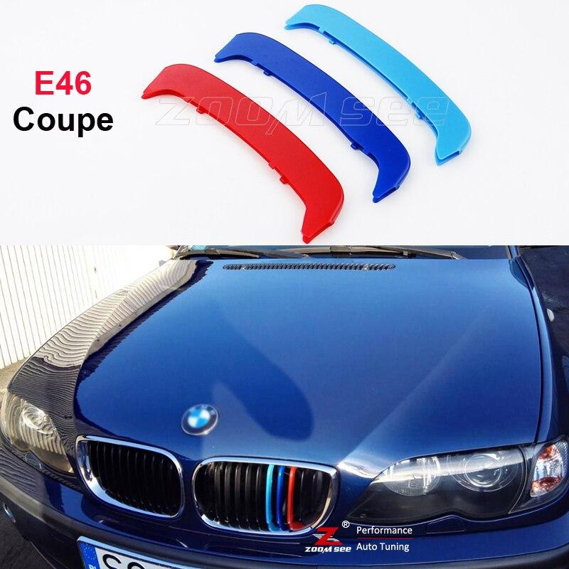 Car M Front Grille Trim Strips Sport Grill Cover Stickers For Bmw 3 Series E46 Coupe Convertible 318ci 320ci 325ci 330ci 323ci