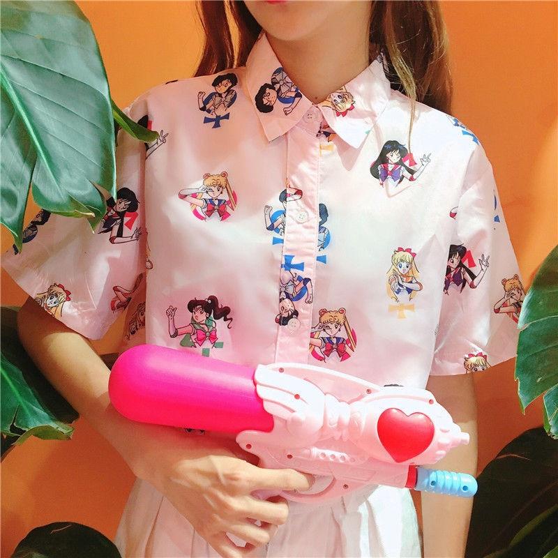 Girls woman Pink Sailor Moon blouse short sleeved Harajuku top shirt