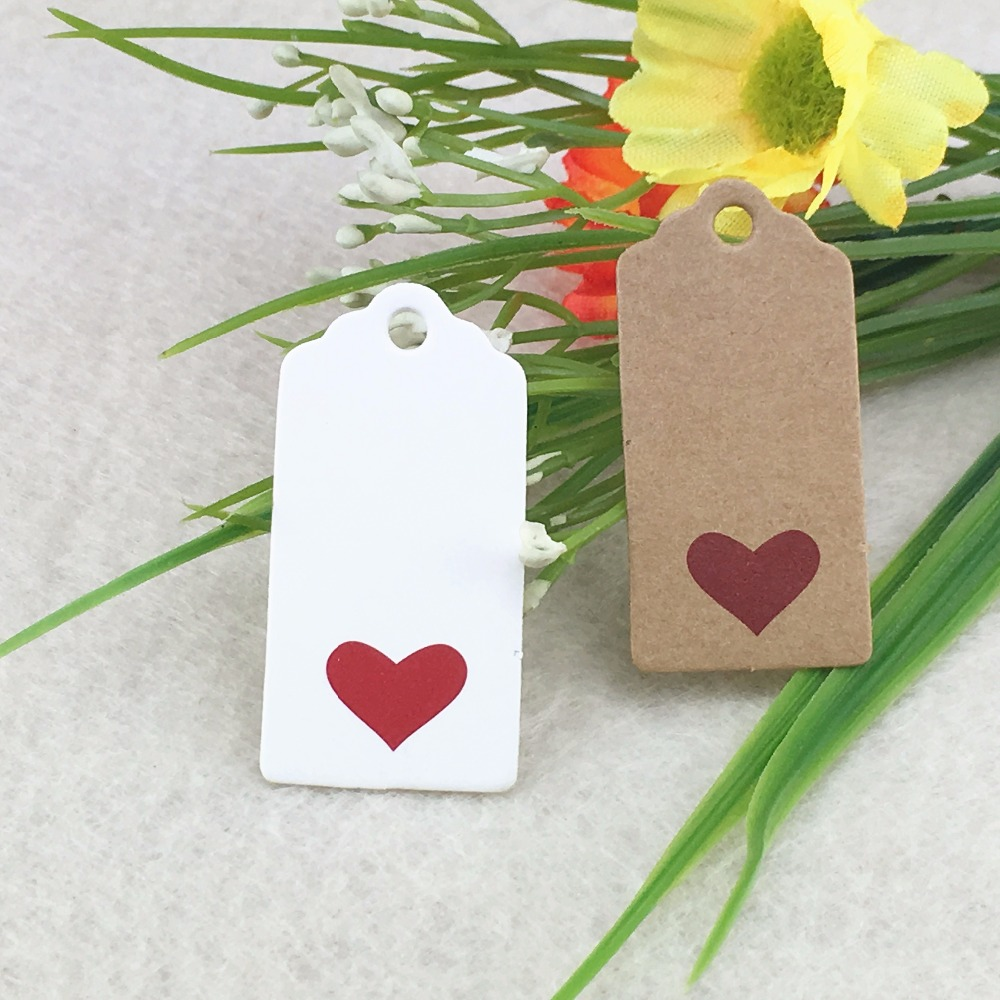 100pcs 4x2cm red Heart Scalloped Kraft Paper Card / Blank Tag ...