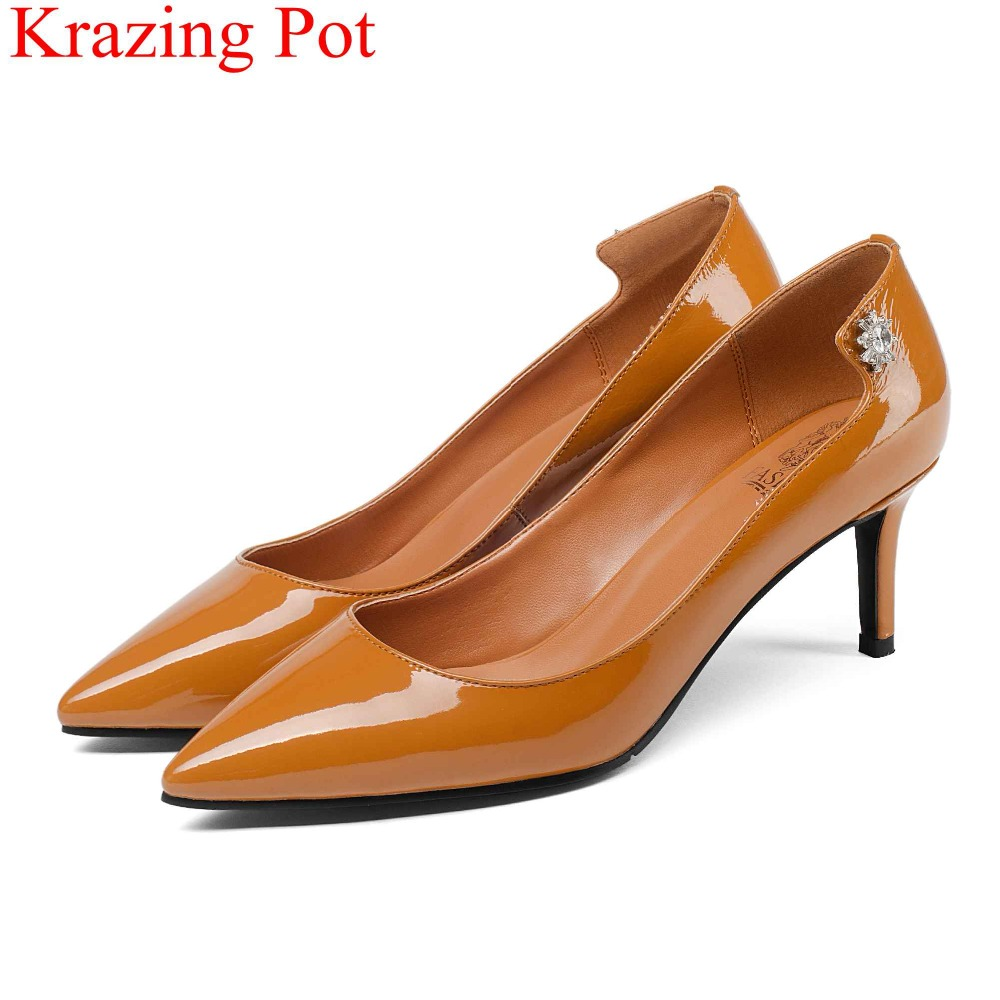 2018 fashion pointed toe shallow cow leather office lady high heels slip on big size women pumps elegant wedding party shoes L31
