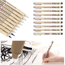 9Pcs/1Set Art marker Pen fine liner pen Needle Drawing Sketch Pen Kit Brush Fine Liner Drawing Ink Pens&Brush Fine Art Supplies