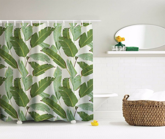 Delicieux Tropical Plants Banana Leaves Waterproof Shower Curtain Polyester Curtain  Shutter For Bathroom Bath Curtain With 10