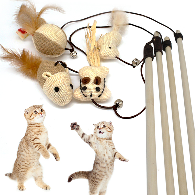 Divertente Del Mouse Giocattolo Gatto Teaser Bacchetta Piuma Giocare al Gatto Gi