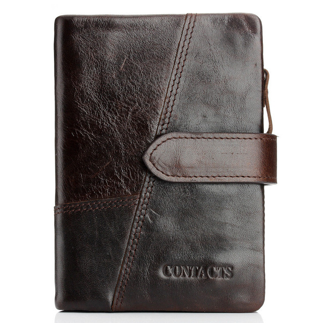 FashionTop ITALIAN Genuine Leather Trifold Mens Card Holder Wallet buckles Zipper Purse Mens Bag