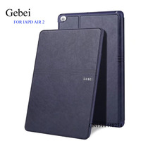 For IPad Air 2 Tablet Cover Gebei Luxury Ultra Thin Cover Leather Case Smart Sleep Wake