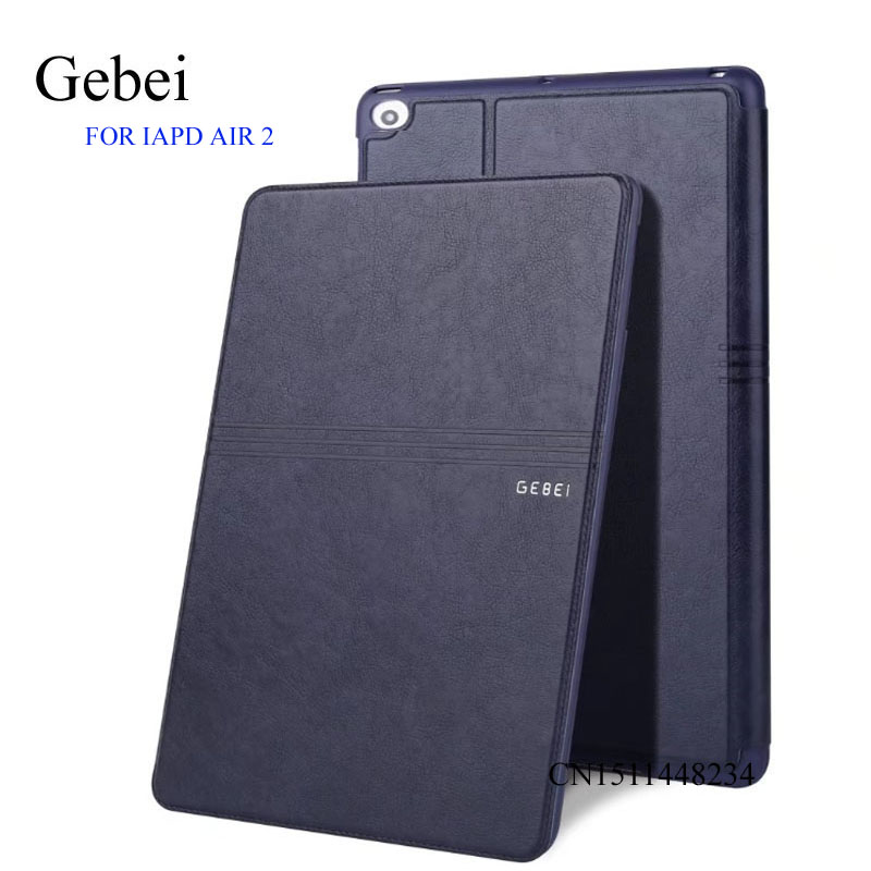 for iPad air 2 Tablet Cover, Gebei luxury Ultra-thin cover, Leather Case, smart sleep / wake up cover for ipad 6 A1566 A1567 smart cover case for ipad kaku original official leather ultra thin stand cases for apple ipad air 1 2with wake up free shipping