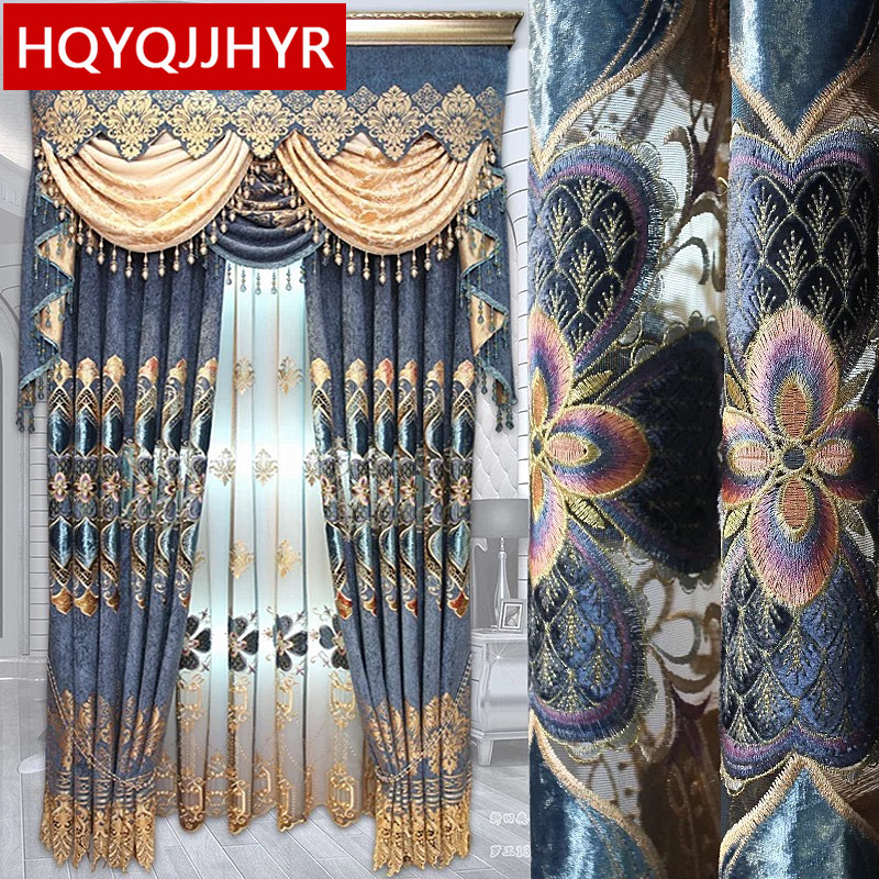 Royal classic aristocratic Blue embroidered high quality Blackout Curtains for Living Room with luxury Voile Curtain for Bedroom|curtains for|blackout curtains|curtains for living room - title=