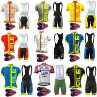 2017 Pro Team Ale Cycling Jersey Bicycle Clothing Short Sleeve Shirt 9D Pad Bib Shorts Set