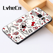 LvheCn phone case For Samsung Galaxy S3 S4 S5 mini S6 S7 S8 edge plus Note2 3 4 5 7 8 New cute colourful hello kitty kitten cats