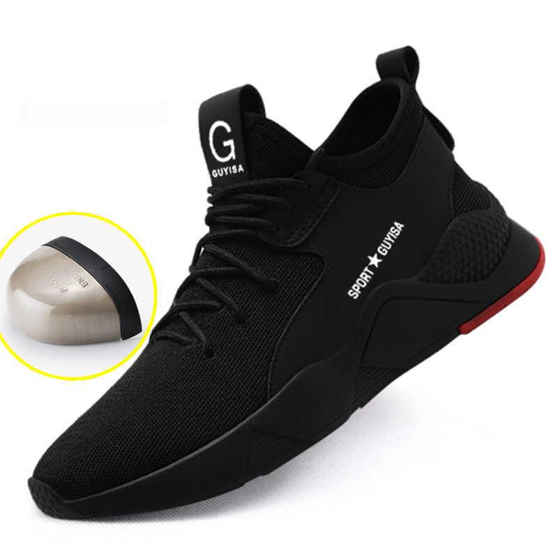 גברים של עבודת בטיחות נעלי גברים סניקרס חיצוני פלדת הבוהן זכר נעלי צבאי Combat קרסול מגפי אנטי לנפץ לעבוד מגפי בטיחות