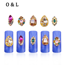 New 10pcs 3d Colorful Alloy Rhinestone Teardrop Nail Slices DIY Beauty Nail Decoration Tools