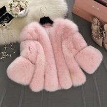 S-4XL plus size Winter New fashion brand Fake fox fur jacket women's warm jacket stitching thicker Faux fur coat