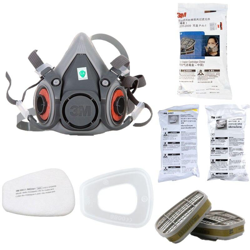 7in1 3M 6200 Gas Mask 6001/6002/6003/6006 Filter Facepiece Respirator Organic Acid Organic Vapor Acid Mask Paint Pray Car
