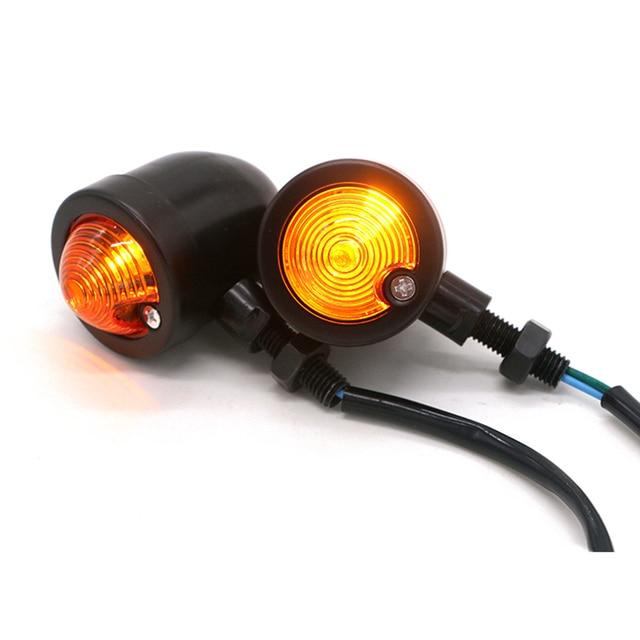 US $17 61 29% OFF|Herobiker Motorcycle Turn Signals Turn Signal Bullet  Vintage Motorcycle Tail Lights Indicator Blinker Black Lamp 10mm for Harley  on