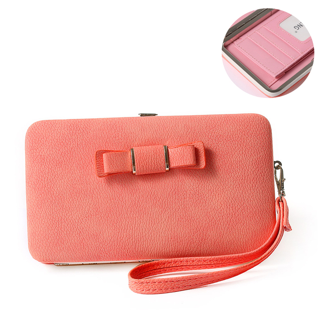 f5329329b81c US $8.73 7% OFF|Fashion Women Bowknot Wallet Long Purse Card Phone Holder  Clutch Large Capacity Pocket Black/Blue/Pink-in Wallets from Luggage & Bags  ...