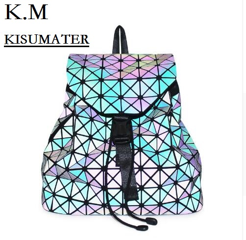KISUMATER Women's Backpack Geometry Sequins Folding Bao Bao Bags Luminous Backpacks Shinning in Dark Noctilucent Bag электроотвёртка bao workers in taiwan 10 8v pt 1080f