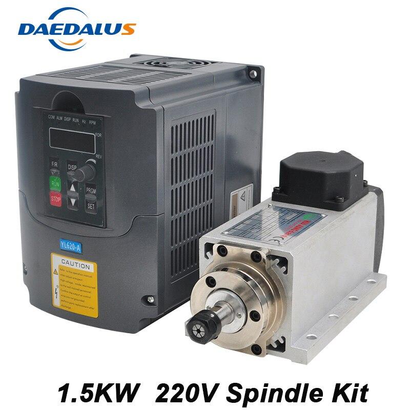 Free Shipping CNC Spindle 1 5KW Air Cooled Spindle ER11 Milling Motor 220V VFD Inverter Converter
