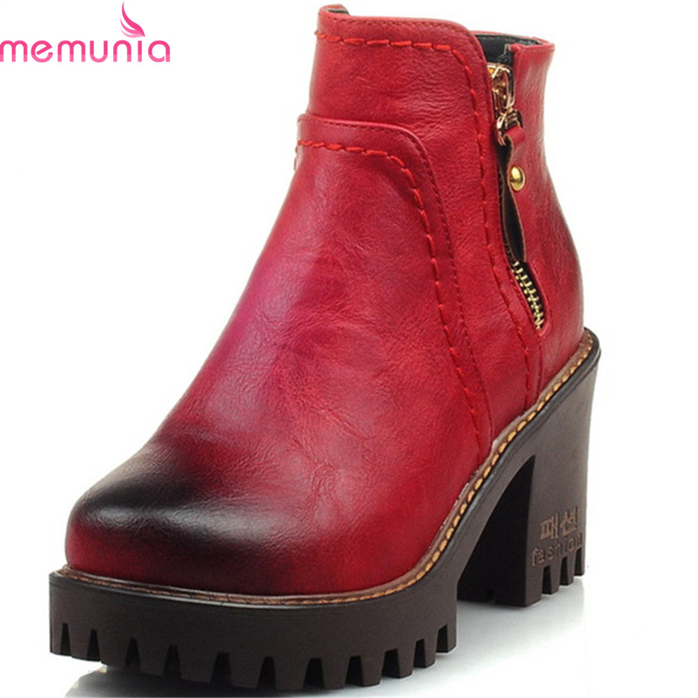 MEMUNIA black brown gray red fashion women boots zipper ladies boots round toe square heel ankle boots autumn winter