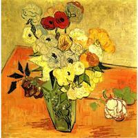 Картина маслом ручной работы воспроизведение Винсент Ван Гог высокое качество японский ваза с розами и анемоны декора гостиной