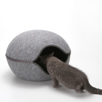Egg Shape Dog Cat Bed Cat Sleeping Bag Zipper Felt Cloth Winter Warm Pet House All Around Cat Nest With Detachable Cushion Mat