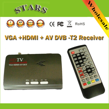 1080 P Full HD Mpeg 4 H.264 HDMI Digital Terrestre DVB-T T2 TV Box VGA/AV CVBS Convertidor Receptor Sintonizador de TV Con Control Remoto